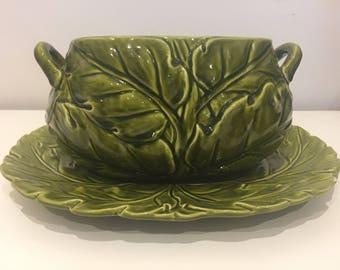 Large Green Dream Leaf Pattern Vintage Handmade Soup Serving Bowl and Oval Dish
