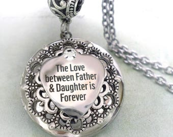 Remembrance locket etsy father memorial locket necklace the love between father and daughter is forever remembrance mozeypictures Choice Image