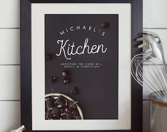 Personalised Chef's Kitchen Typographic Print