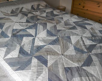 Patchwork Quilt, Shades of Grey Quilt, Patchwork Embroidered Quilt, Hand Quilted