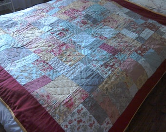 Patchwork Quilt, Larkspur Design Quilt, Multicoloured Patchwork Quilt, Shabby Chic Quilt, Hand Embroidered Quilt