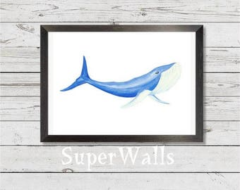 Original water-color print, whale, blue whale, wall decor, instant digital, art, painting, blue