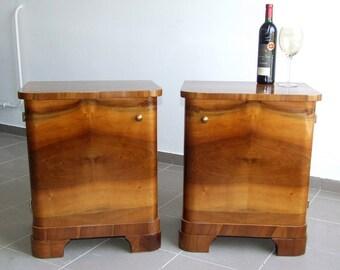 Art Deco Bedside Cabinets. Art Deco Nightstands, Pair. Vintage 1920s Walnut Cabinets.