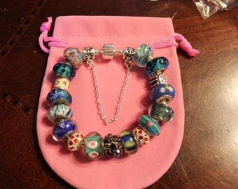 Charm Bracelet, European style with beads and charms + safety chain