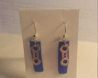 Upcycled bicycle chain and prescription bottle earrings