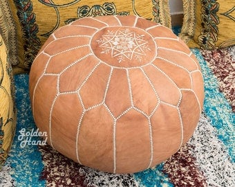 Handmade Moroccan Leather Pouf Natural Tan Ottoman Pouffe Hassock Footstool Case