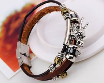 Vintage Dragon Leather Steel Bracelet