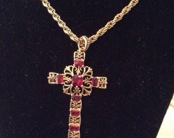Gold Cross Pendant with Ruby Red Gemstones
