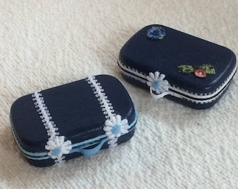 Custom Handcrafted Miniature Suitcase for your Dollhouse 1:12 OOAK