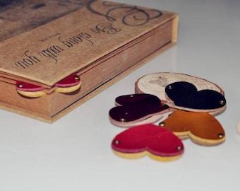 leather bookmarks,custom bookmarks,engraved bookmarks,genuine bookmarks, heart-shaped bookmarks