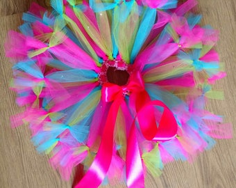 Neon colours baby girl tutu skirt with pink ribbon and rhinestones bow ended birthday party photo session prop