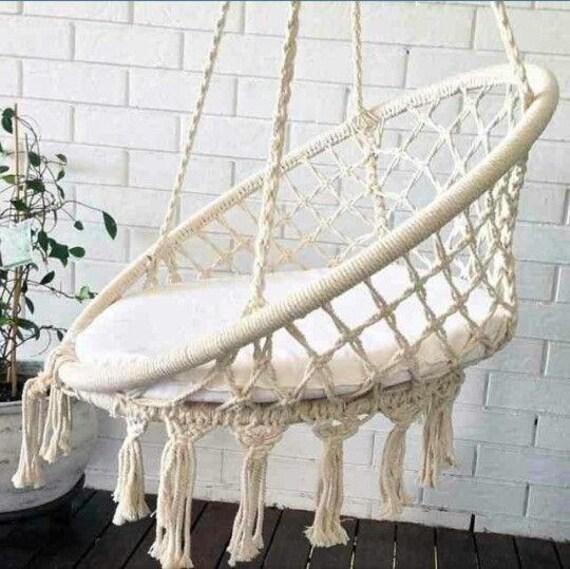 macram hamac chaise suspendu fauteuil en coton 100. Black Bedroom Furniture Sets. Home Design Ideas