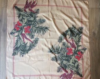 Vintage Peach Scarf with Palm and Floral Design by Michel Vernet, Paris