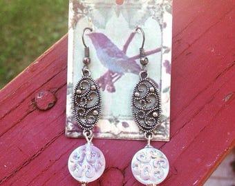 Swirly Shimmering Glass Earrings