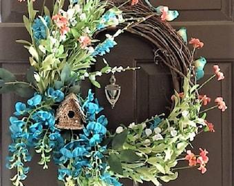 Spring Bird House Wreath