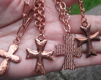 Copper Cross Necklace- Choose from 4 different ones