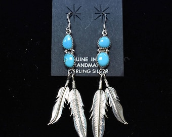 Sterling Silver Earrings, Blue Turquoise with Silver Feather Findings, Navajo SS New Mexico