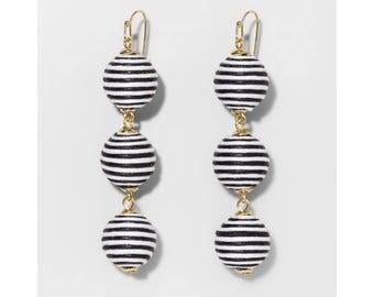 Black Triad Ball Drop Earrings