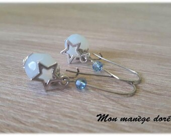 Earrings White Pearl Opal facets and Silver Star charm