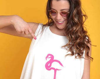 My white t-shirt 100% cotton Made in Italy one size fits all with pink flamingo applied on face