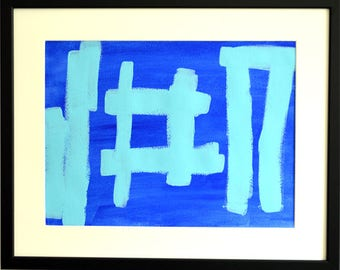Two Blues, acrylic paint on paper, 43 x 53 cm incl. frame