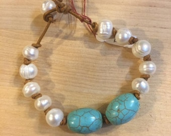 Pearl and turquoise bracelet