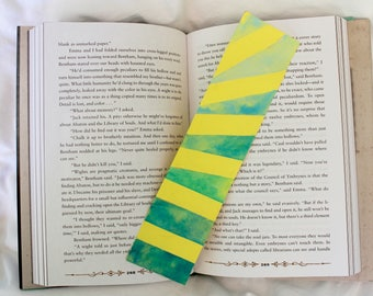 Diagonal Striped Bookmark with Watercolor Gradient