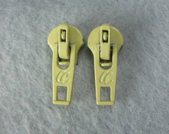 Yellow Zipper Pull Earrings - Upcycled, Recycled, Repurposed