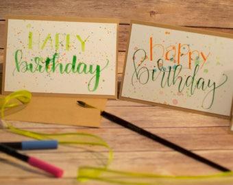 Set of 4 5x7 Hand Lettered Splatter Birthday Cards