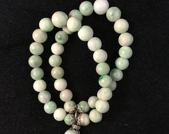 Antique jadeite jade beaded bracelet