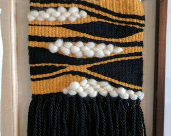 Black and Yellow Woven Wall Hanging