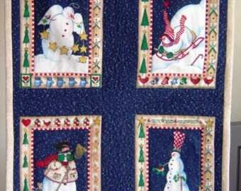 Christmas Decor - Quilted Snowmen Wall Hanging, 21x17