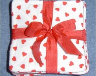 Bright Red Valentine Fabric Coaster set of 6 - 4""