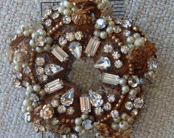Vintage Haskell Style Unmarked Filigree Pearl Crystal Circle Wreath Brooch Stunning