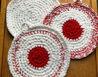 Qty of 3 Handmade Potholders Hot Pads Mixed Red and White