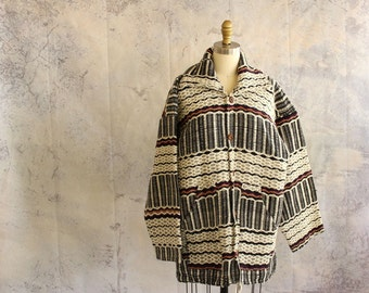 textile woven jacket, made in Ecuador . unisex button up . mens large / xl