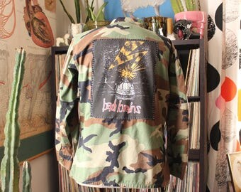 vintage Bad Brains back patch camo jacket . 1st album 80s tee patched camouflage army jacket