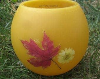 Maple Leaf -Daisy Flower- Beeswax Lantern-Unique Home Decor-Handmade Colorado-Pressed Daisy Flower-Maple Leaf Art