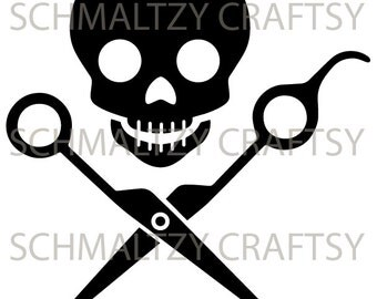 Jolly Roger Scissors salon stylist barber SVG & PNG Cutting File for Cricut Silhouette Cameo