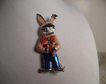 Cute Enameled Rabbit Brooch Signed Danecraft