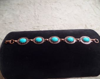1950's Copper and Faux Turquoise Cabochon Stones