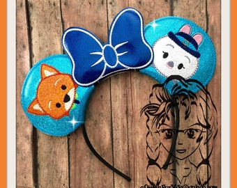 BuNNY & FoX Game Inspired Character (3 Piece) Mr Miss Mouse Ears Headband ~ In the Hoop ~ Downloadable DiGiTaL Machine Emb Design by Carrie