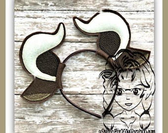 BEAST Bell Monster Ears HoRNS ~ (2 Piece) Character Inspired Headband ~ In the Hoop ~ Downloadable DiGiTaL Machine Emb Design by Carrie