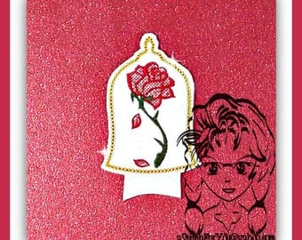 RoSE UNDeR GLaSS Beast Center (Add On Only ~ 1 Piece) ITH Mr Miss Mouse Ears Headband ~ INSTANT Machine Embroidery Download Design by Carrie
