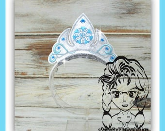 ICe QUeeN SNoWFLaKE SWiRL PRiNCESS CRoWN ~ Inspired Character ITH Headband ~ INSTaNT Machine Embroidery Download Design by Carrie