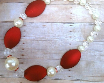 Chunky Necklace, Red, pearls, clear beads, glass beads, necklace, christmas, holidays, party, gift, big beads, Valentine's Day, Mothers Day