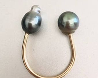 Horse Shoe Shape Ring with Tahitian Pearls