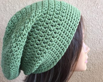 Green Slouchy Beanie,  slouchy hat, Medium Green Crochet Slouch, Women's Tam,   Ready to Ship,  Ladies Hat, Boho Trendy Beanie