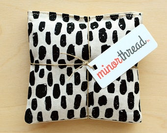 Organic Lavender Sachets in Linen and Black Paint Strokes Set of 2 Lavender Scented Pillows Natural Home