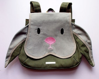 BUNNY Backpack, Rabbit Bag, Petite Harajuku Ladies Backpack, Kid's Backpack, Small Fabric Backpack, Cosplay Backpack, GRAY Bunny Rabbit
